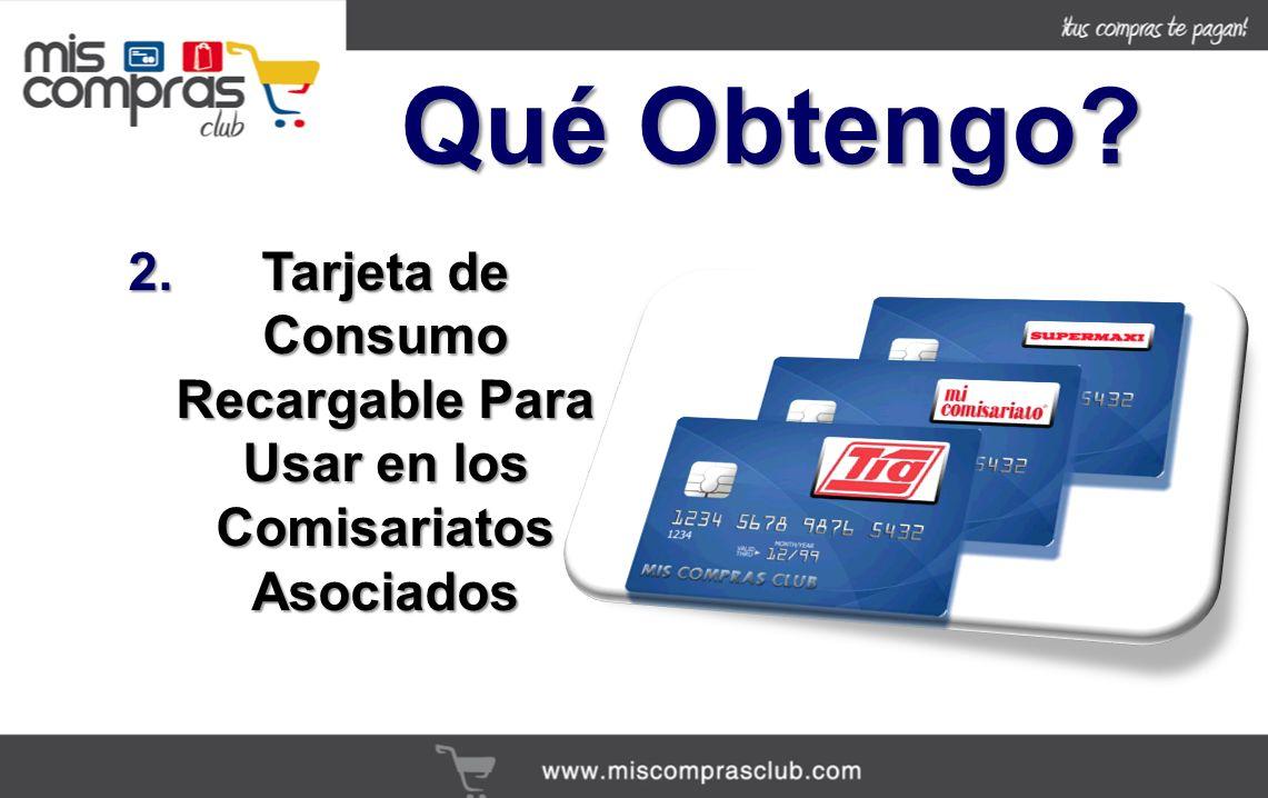 2.Tarjeta de Consumo Recargable Para Usar en los Comisariatos Asociados Qué Obtengo?