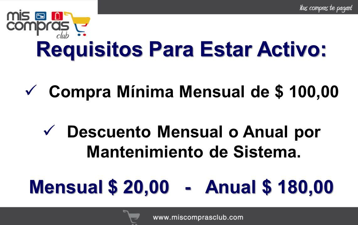 Requisitos Para Estar Activo: Compra Mínima Mensual de $ 100,00 Descuento Mensual o Anual por Mantenimiento de Sistema.