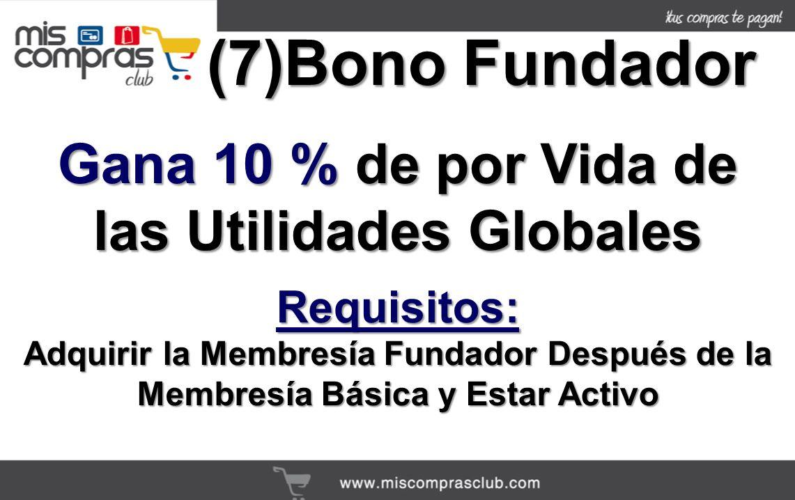 (7)Bono Fundador Gana 10 % de por Vida de las Utilidades Globales Requisitos: Adquirir la Membresía Fundador Después de la Membresía Básica y Estar Activo