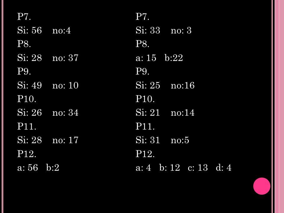P7. Si: 56 no:4 P8. Si: 28 no: 37 P9. Si: 49 no: 10 P10. Si: 26 no: 34 P11. Si: 28 no: 17 P12. a: 56 b:2 P7. Si: 33 no: 3 P8. a: 15 b:22 P9. Si: 25 no