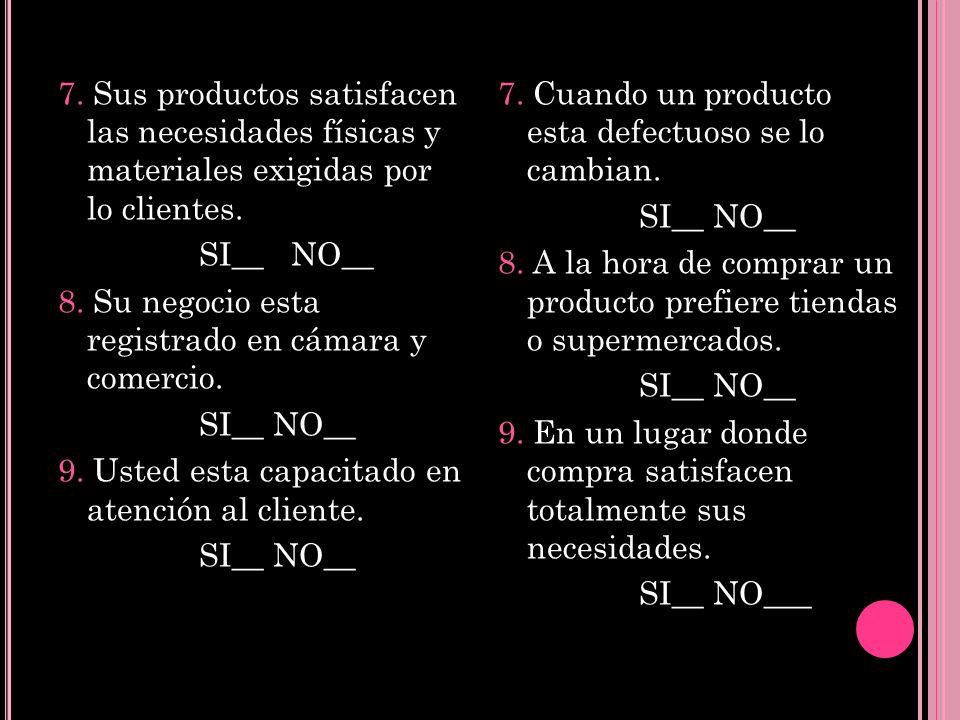 7. Sus productos satisfacen las necesidades físicas y materiales exigidas por lo clientes. SI__ NO__ 8. Su negocio esta registrado en cámara y comerci