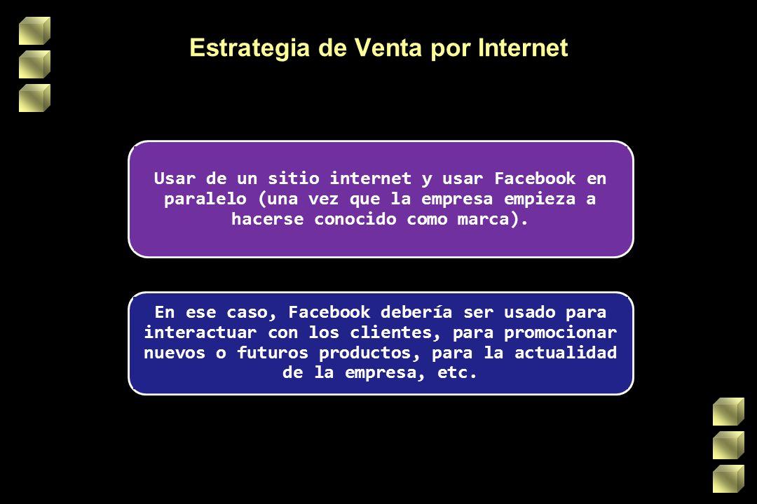 Estrategia de Venta por Internet Usar de un sitio internet y usar Facebook en paralelo (una vez que la empresa empieza a hacerse conocido como marca).