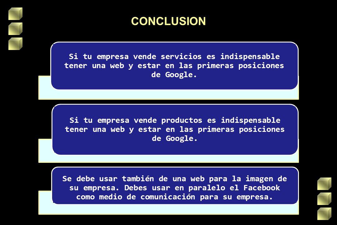 CONCLUSION Si tu empresa vende servicios es indispensable tener una web y estar en las primeras posiciones de Google.