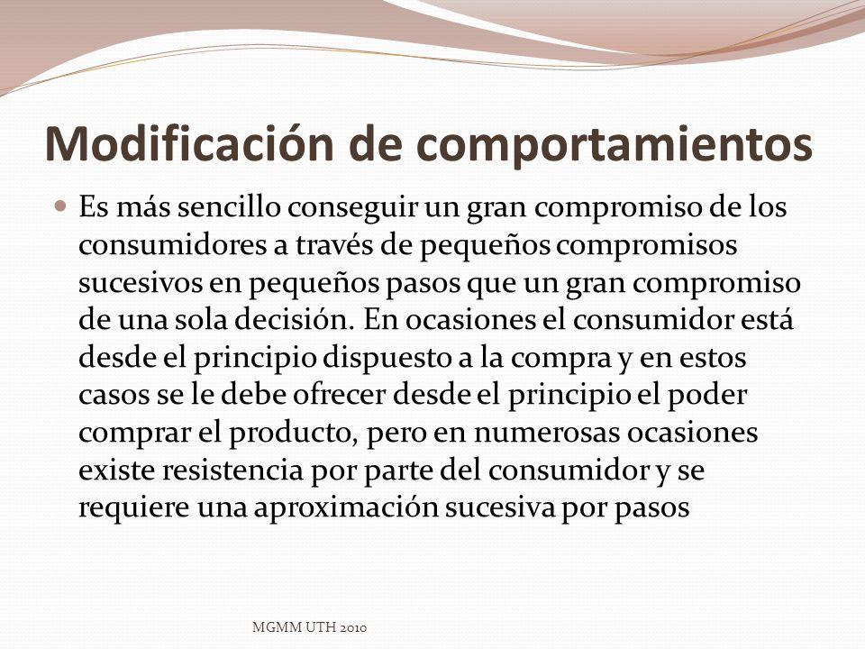 Modificación de comportamientos Es más sencillo conseguir un gran compromiso de los consumidores a través de pequeños compromisos sucesivos en pequeño