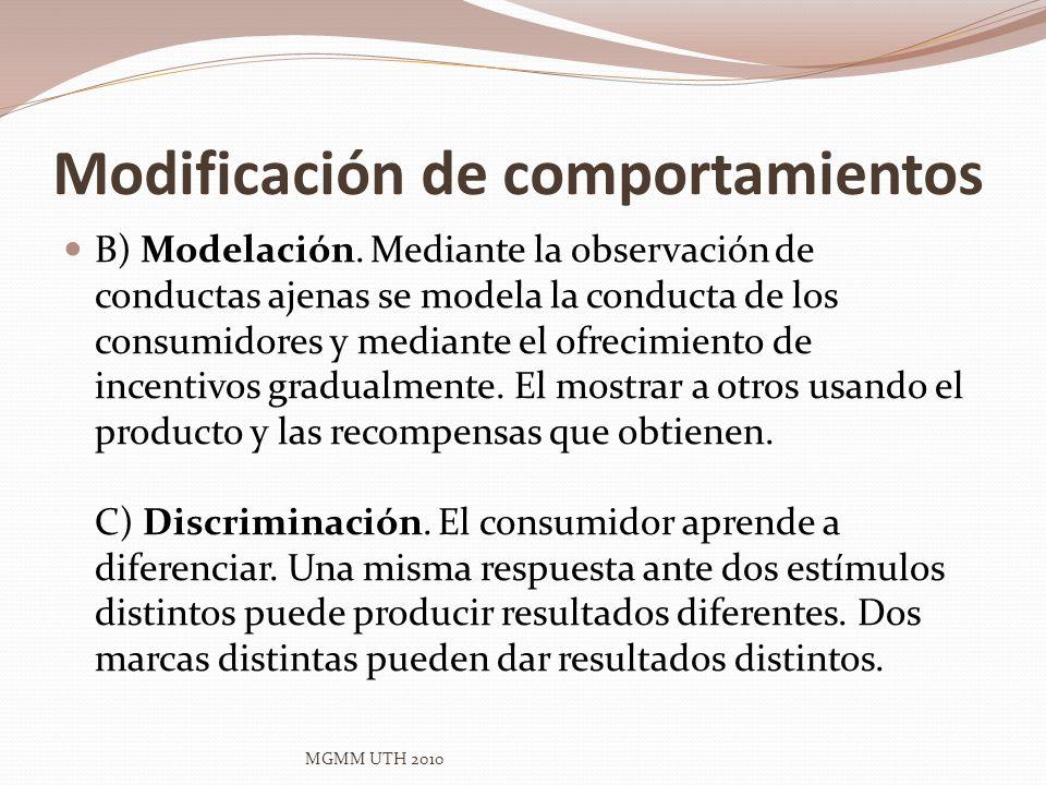 Modificación de comportamientos B) Modelación. Mediante la observación de conductas ajenas se modela la conducta de los consumidores y mediante el ofr