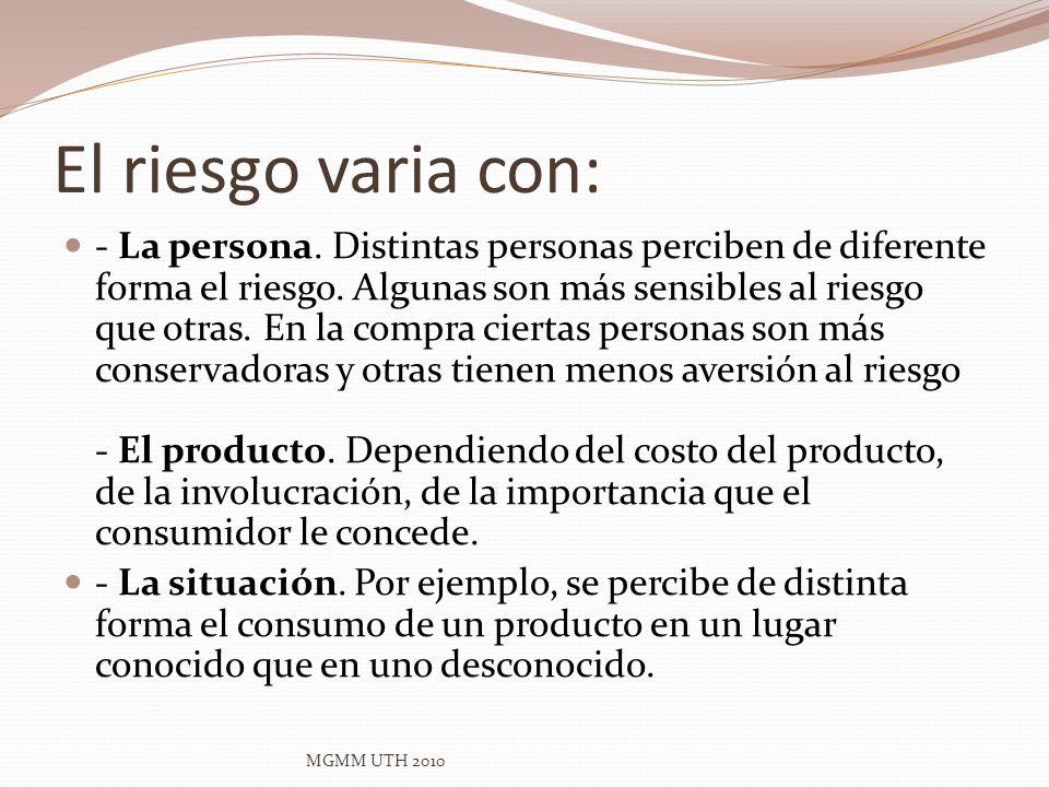 El riesgo varia con: - La persona. Distintas personas perciben de diferente forma el riesgo. Algunas son más sensibles al riesgo que otras. En la comp