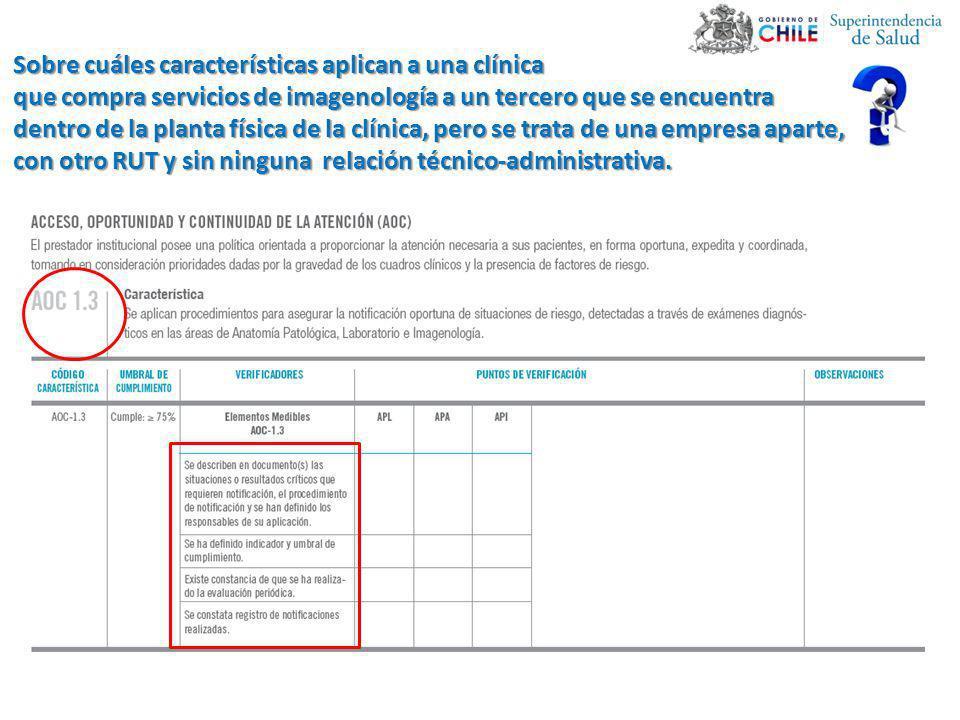 Sobre cuáles características aplican a una clínica que compra servicios de imagenología a un tercero que se encuentra dentro de la planta física de la