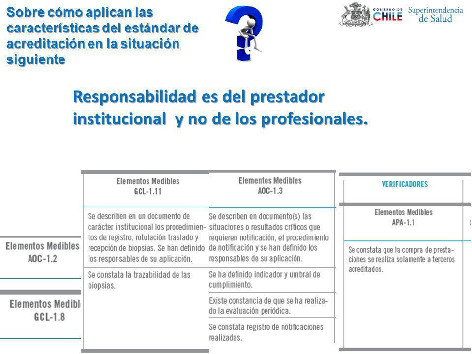 Responsabilidad es del prestador institucional y no de los profesionales.