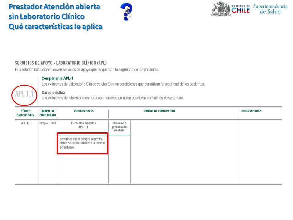 Prestador Atención abierta sin Laboratorio Clínico Qué características le aplica