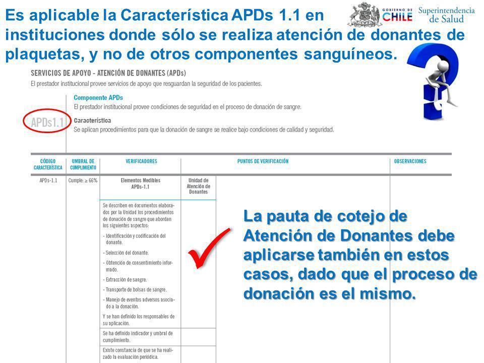 Es aplicable la Característica APDs 1.1 en instituciones donde sólo se realiza atención de donantes de plaquetas, y no de otros componentes sanguíneos