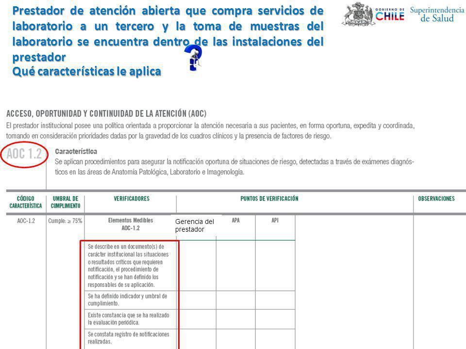 Gerencia del prestador Prestador de atención abierta que compra servicios de laboratorio a un tercero y la toma de muestras del laboratorio se encuent