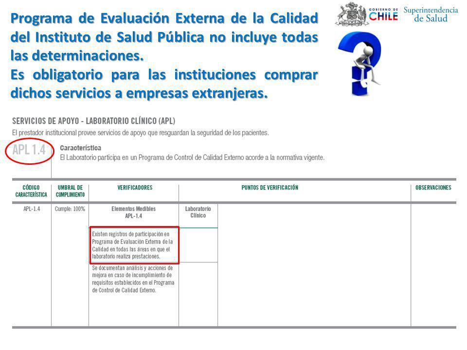 Programa de Evaluación Externa de la Calidad del Instituto de Salud Pública no incluye todas las determinaciones. Es obligatorio para las institucione
