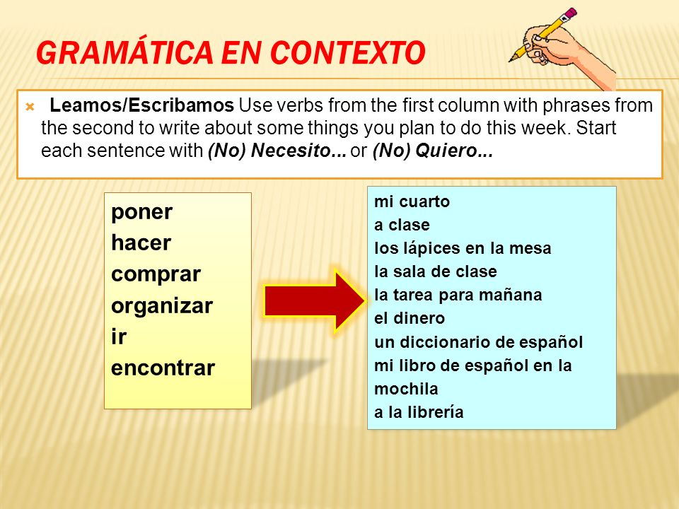 GRAMÁTICA EN CONTEXTO Leamos/Escribamos Use verbs from the first column with phrases from the second to write about some things you plan to do this we