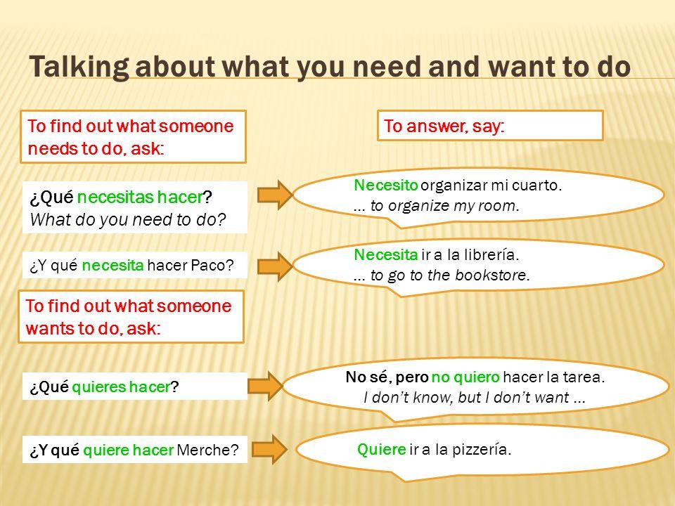 ¿Qué dice Paco y qué dice Abuela? ¿Qué necesita, no necesita o quiere Paco para el colegio?