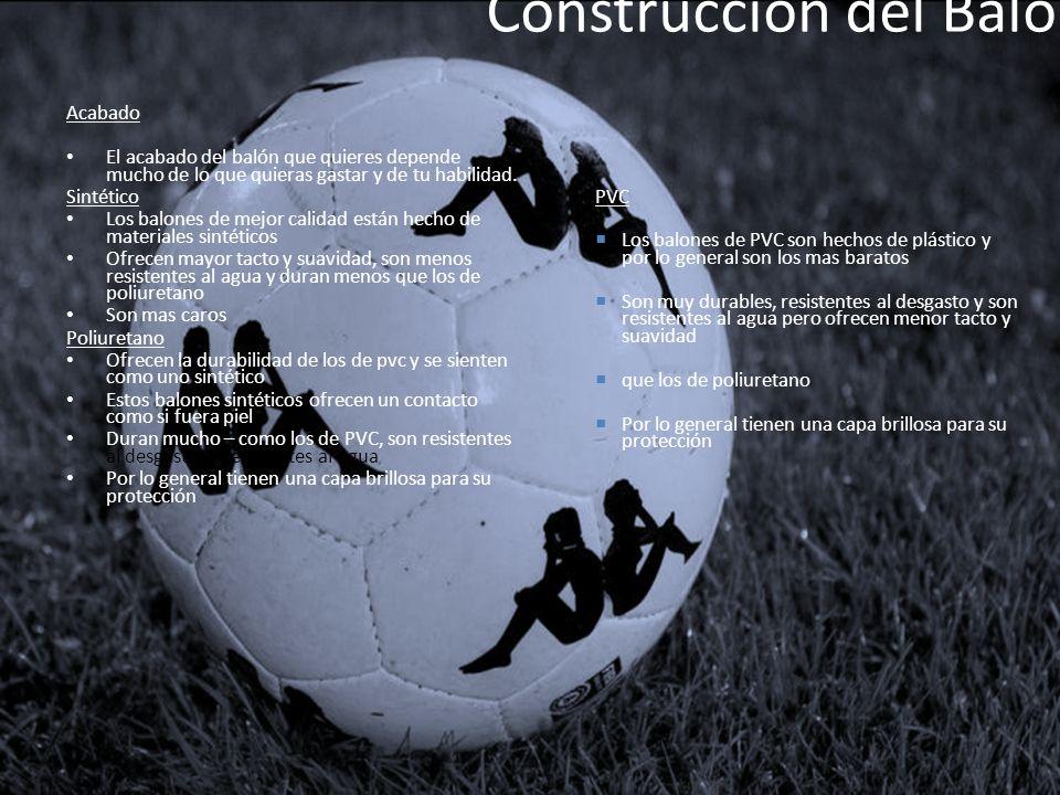 Construcción del Balón Acabado El acabado del balón que quieres depende mucho de lo que quieras gastar y de tu habilidad. Sintético Los balones de mej