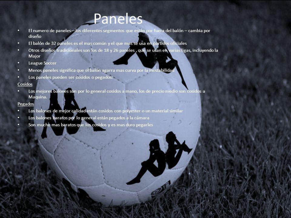 Paneles El numero de paneleslos diferentes segmentos que están por fuera del balón – cambia por diseño El balón de 32 paneles es el mas común y el que