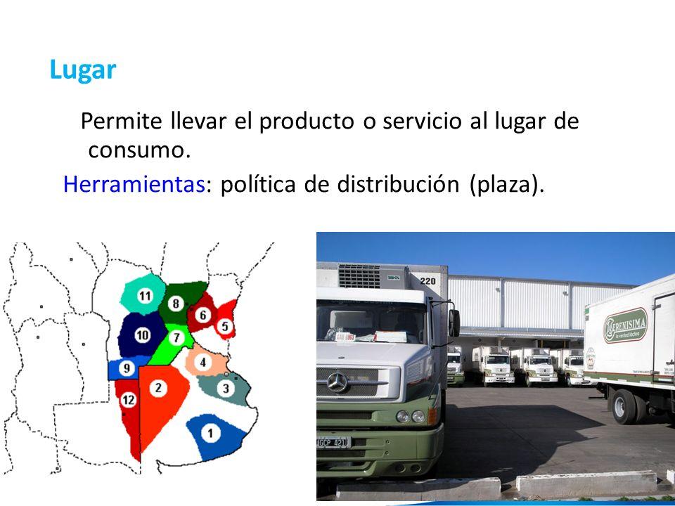 15 Lugar Permite llevar el producto o servicio al lugar de consumo. Herramientas: política de distribución (plaza).