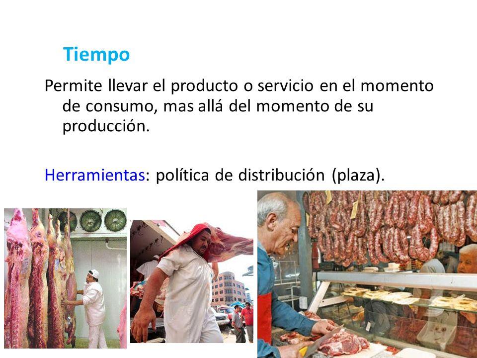 16 Tiempo Permite llevar el producto o servicio en el momento de consumo, mas allá del momento de su producción. Herramientas: política de distribució