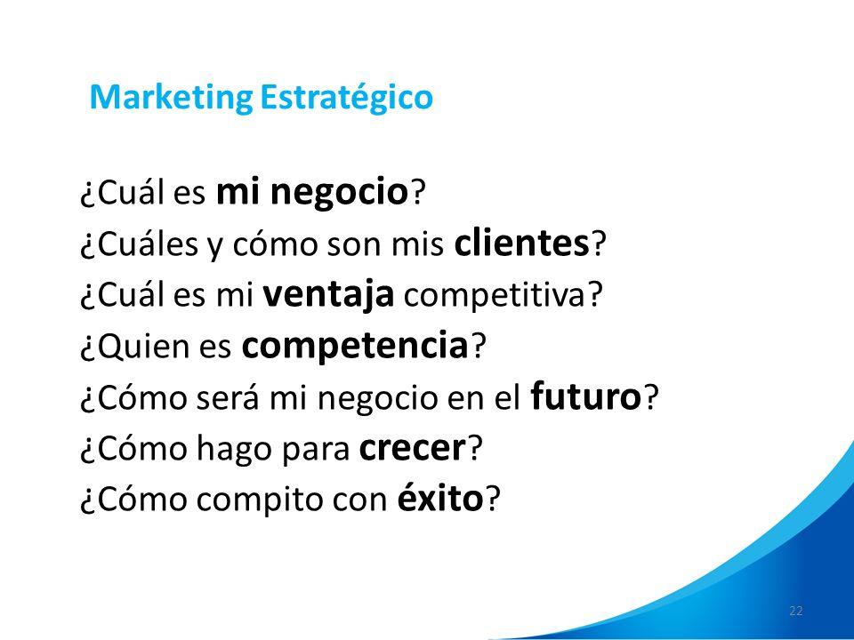 22 Marketing Estratégico ¿Cuál es mi negocio ? ¿Cuáles y cómo son mis clientes ? ¿Cuál es mi ventaja competitiva? ¿Quien es competencia ? ¿Cómo será m