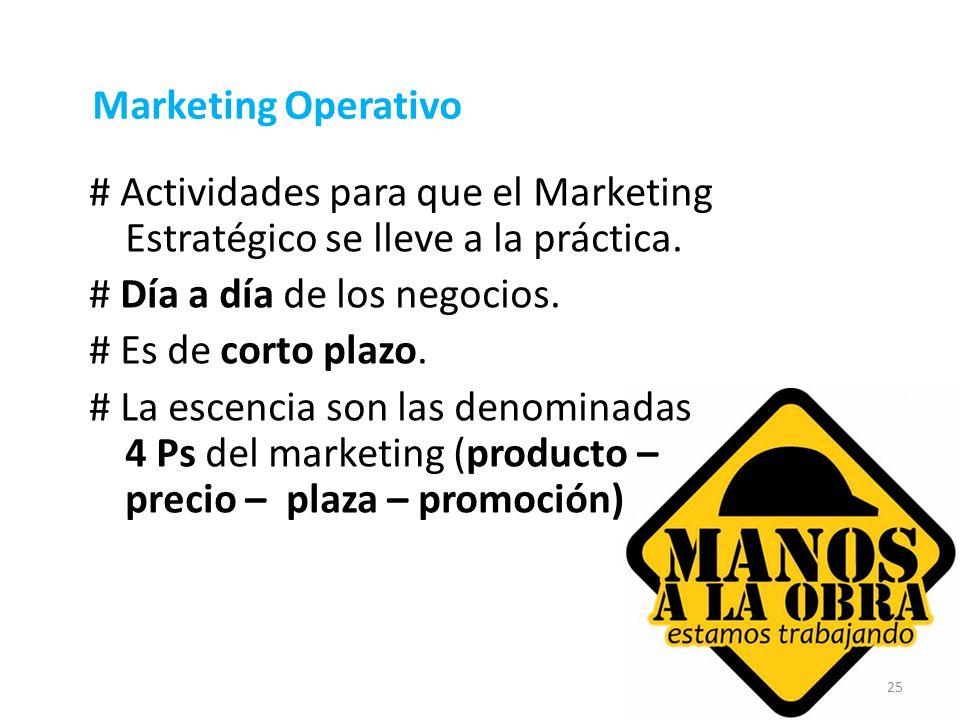 25 Marketing Operativo # Actividades para que el Marketing Estratégico se lleve a la práctica. # Día a día de los negocios. # Es de corto plazo. # La