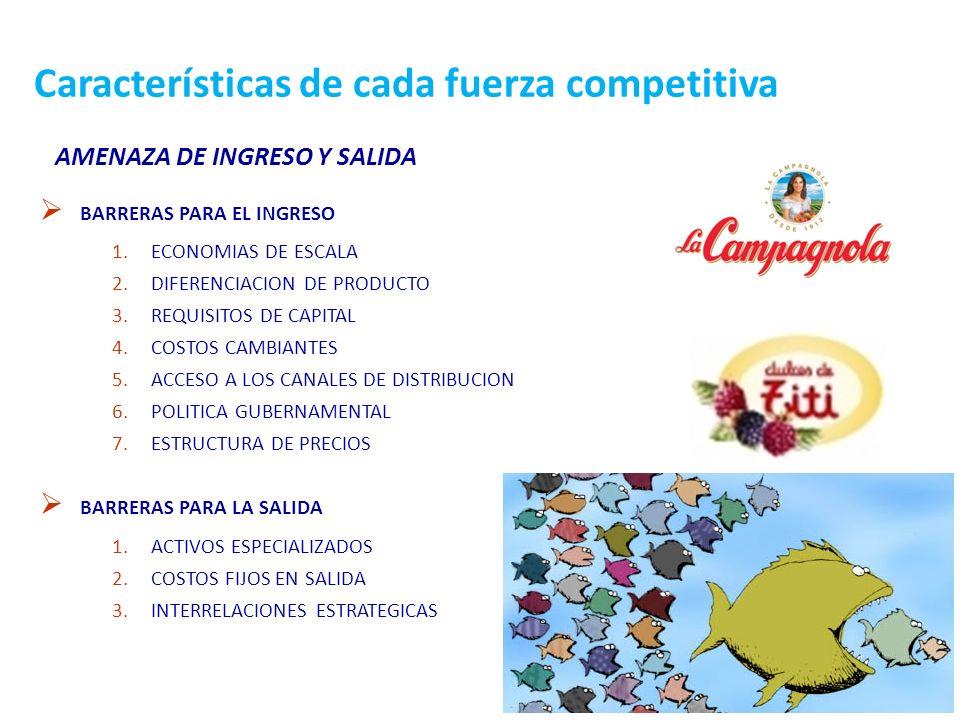 29 Características de cada fuerza competitiva AMENAZA DE INGRESO Y SALIDA BARRERAS PARA EL INGRESO 1.ECONOMIAS DE ESCALA 2.DIFERENCIACION DE PRODUCTO