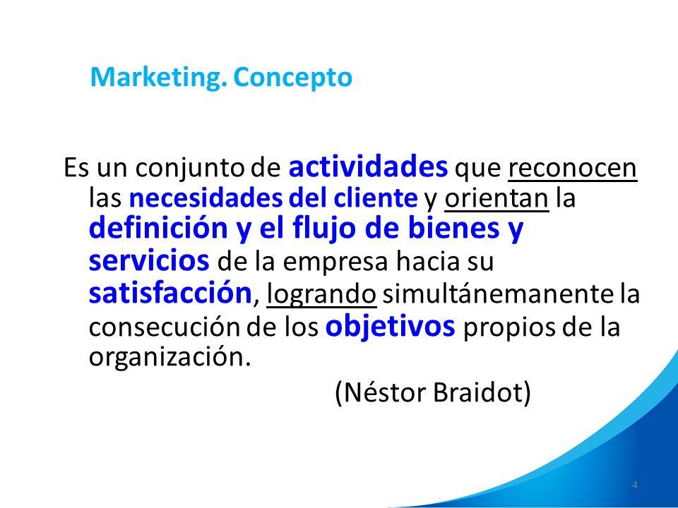 4 Marketing. Concepto Es un conjunto de actividades que reconocen las necesidades del cliente y orientan la definición y el flujo de bienes y servicio