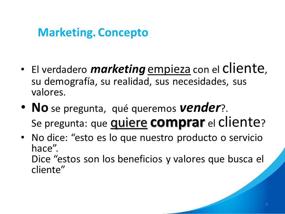 6 Marketing. Concepto El verdadero marketing empieza con el cliente, su demografía, su realidad, sus necesidades, sus valores. quiere comprar No se pr