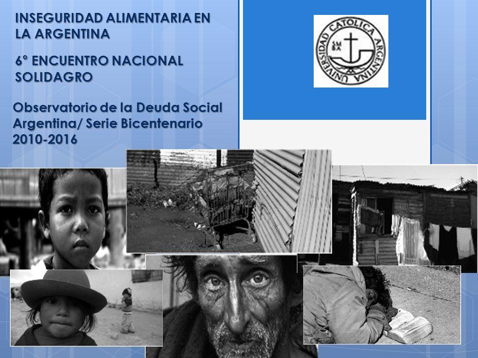 Observatorio de la Deuda Social Argentina/ Serie Bicentenario 2010-2016 INSEGURIDAD ALIMENTARIA EN LA ARGENTINA 6° ENCUENTRO NACIONAL SOLIDAGRO