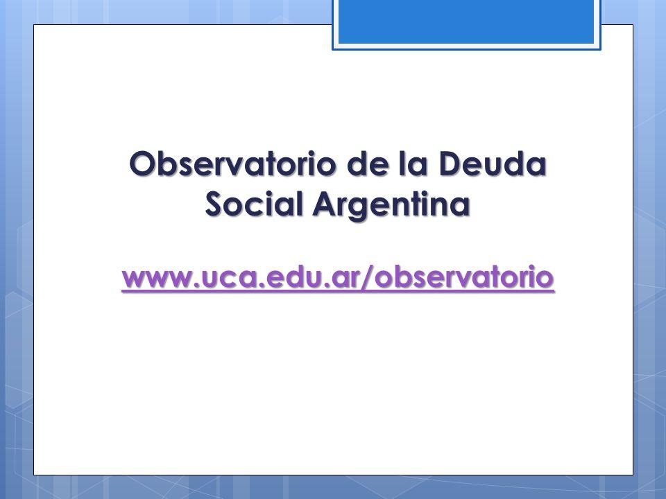 Observatorio de la Deuda Social Argentina www.uca.edu.ar/observatorio www.uca.edu.ar/observatorio