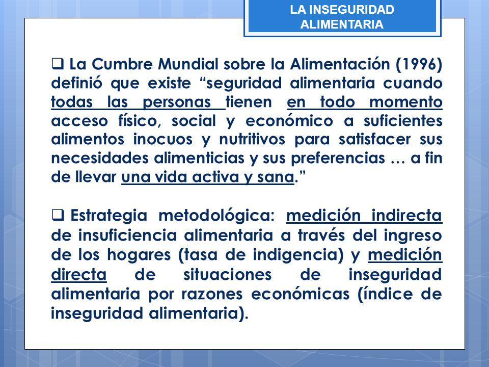 LA INSEGURIDAD ALIMENTARIA La Cumbre Mundial sobre la Alimentación (1996) definió que existe seguridad alimentaria cuando todas las personas tienen en