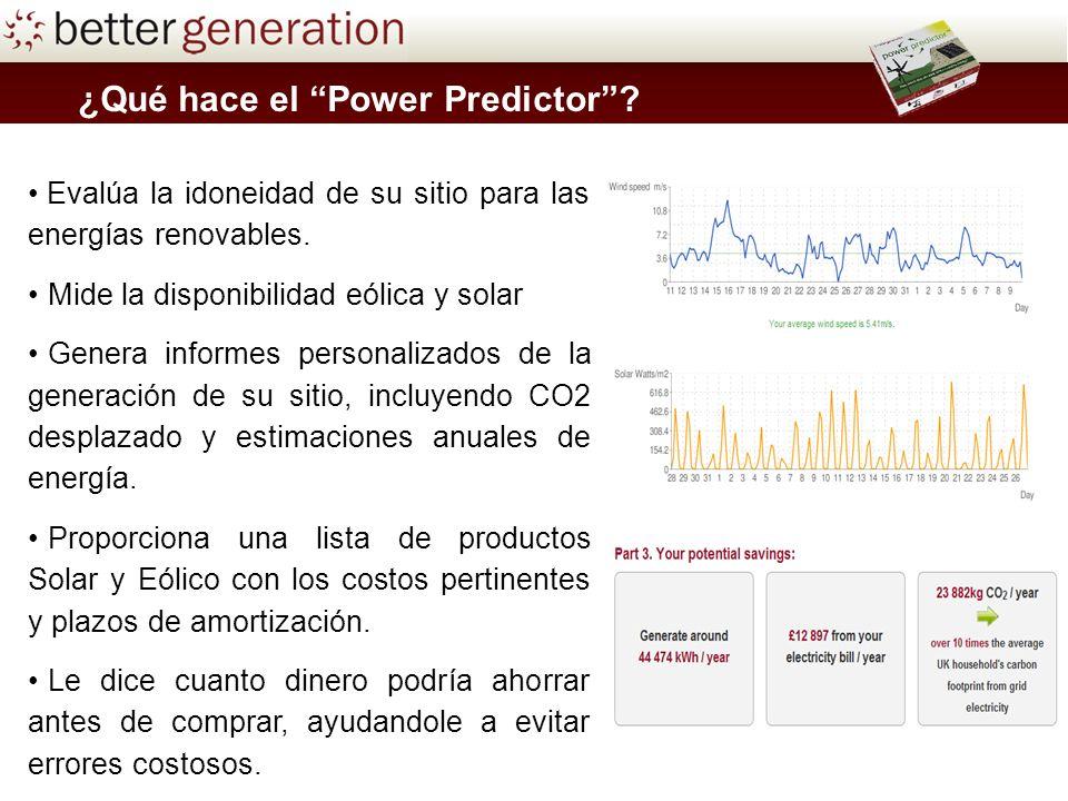 ¿Qué hace el Power Predictor? Evalúa la idoneidad de su sitio para las energías renovables. Mide la disponibilidad eólica y solar Genera informes pers