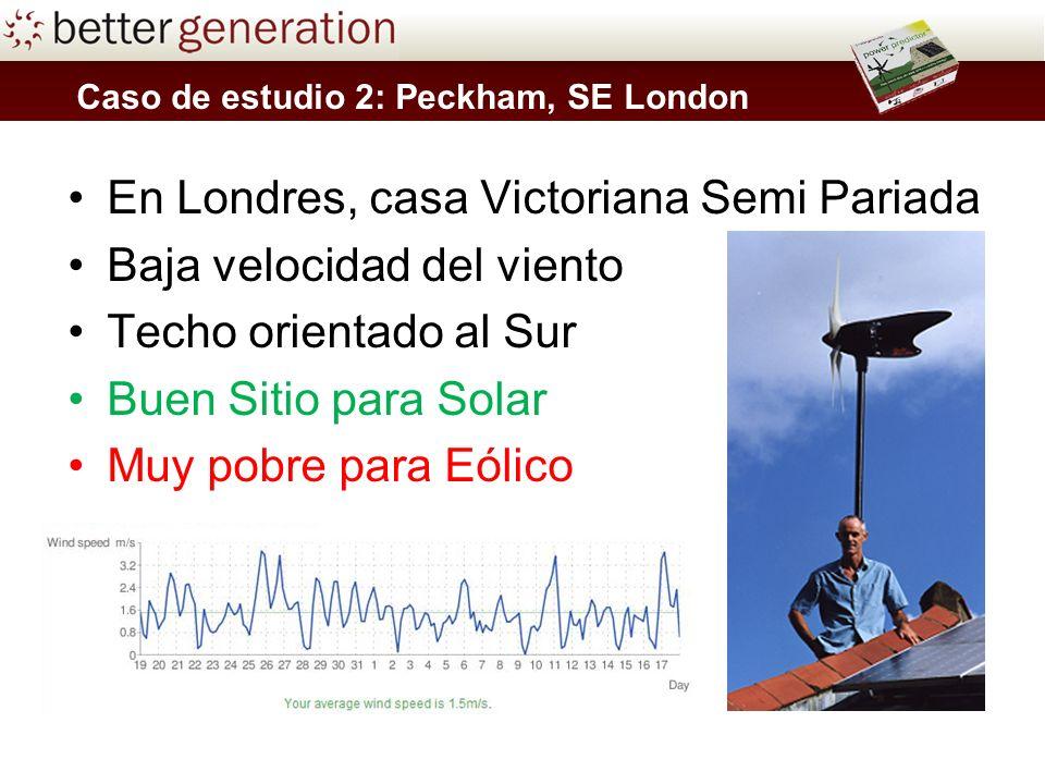 En Londres, casa Victoriana Semi Pariada Baja velocidad del viento Techo orientado al Sur Buen Sitio para Solar Muy pobre para Eólico Caso de estudio 2: Peckham, SE London