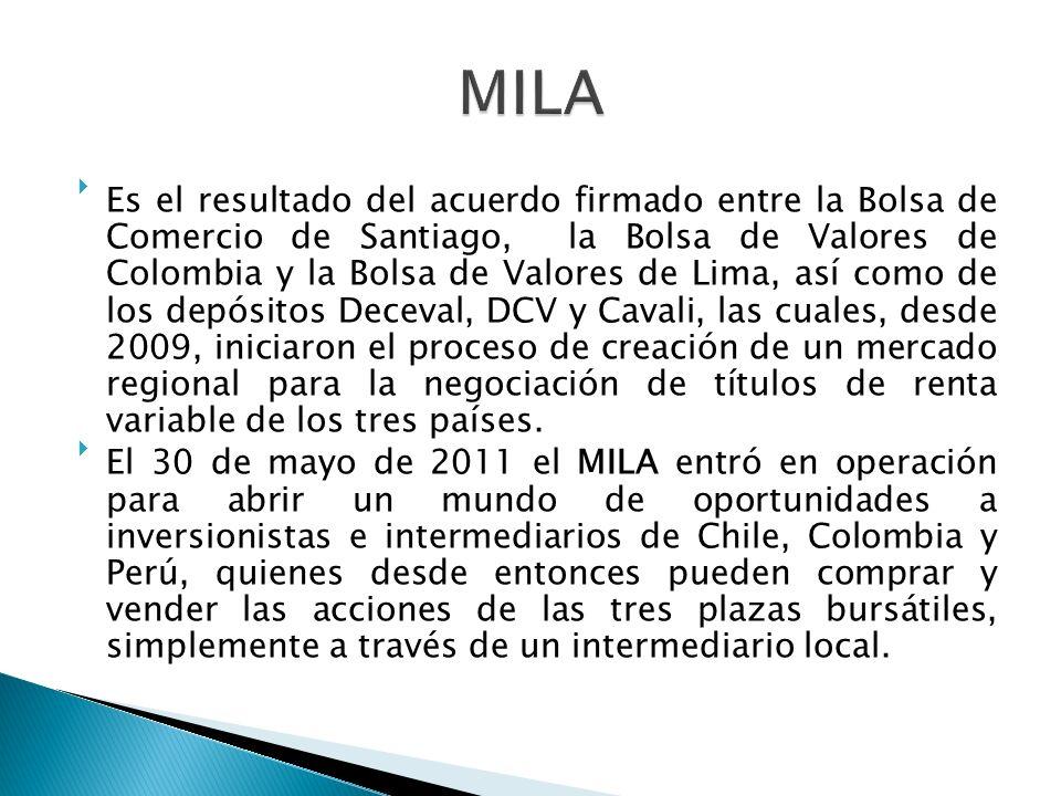 Es el resultado del acuerdo firmado entre la Bolsa de Comercio de Santiago, la Bolsa de Valores de Colombia y la Bolsa de Valores de Lima, así como de