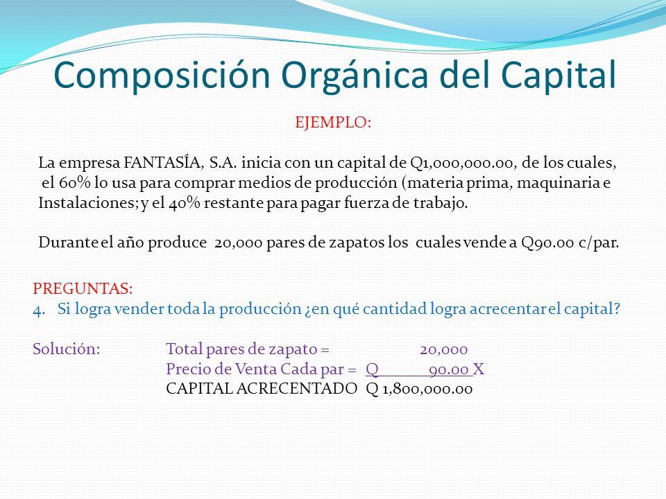 Composición Orgánica del Capital EJEMPLO: La empresa FANTASÍA, S.A. inicia con un capital de Q1,000,000.00, de los cuales, el 60% lo usa para comprar
