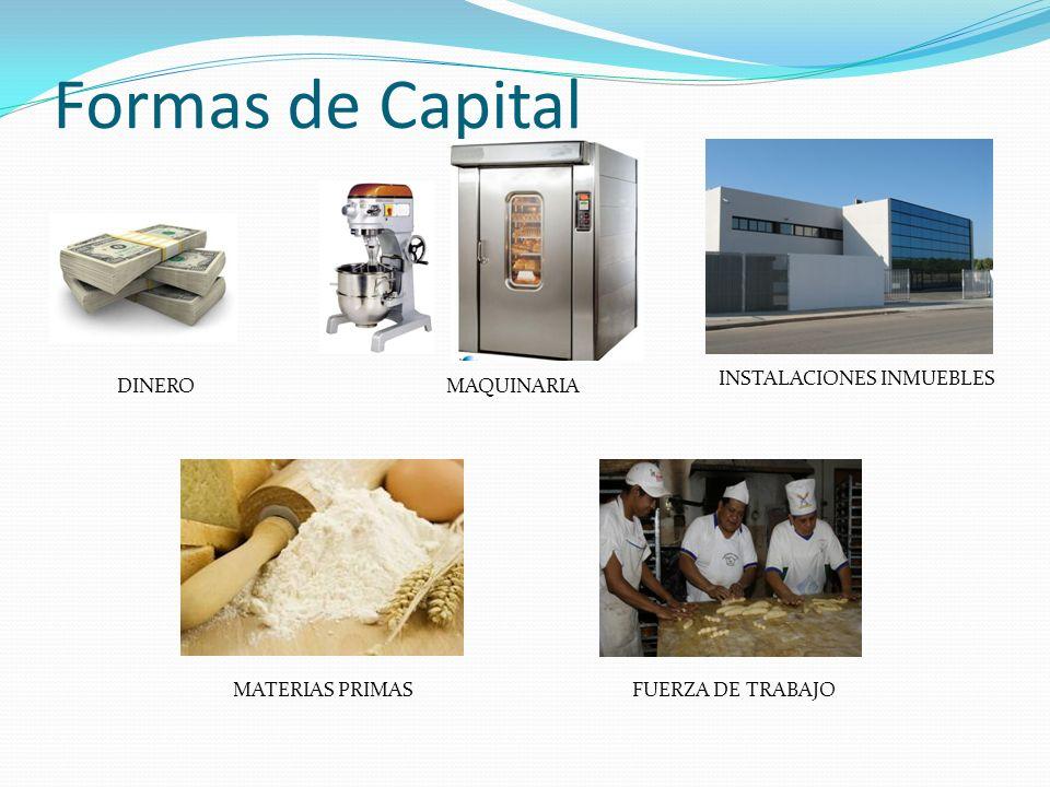 Formas de Capital DINEROMAQUINARIA INSTALACIONES INMUEBLES MATERIAS PRIMASFUERZA DE TRABAJO