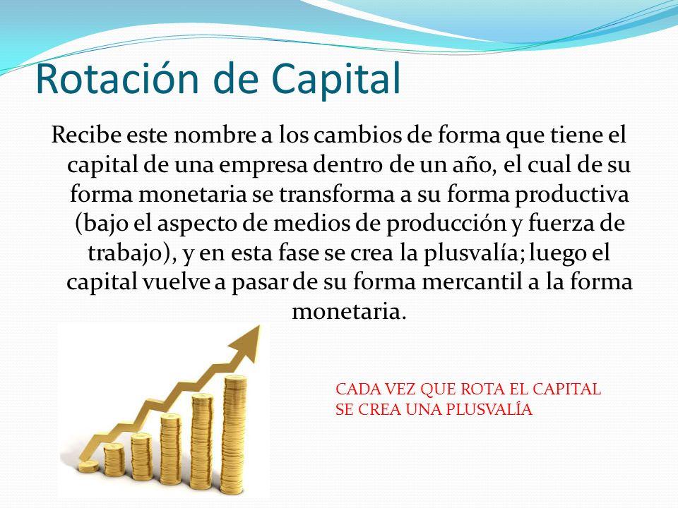 Rotación de Capital Recibe este nombre a los cambios de forma que tiene el capital de una empresa dentro de un año, el cual de su forma monetaria se t