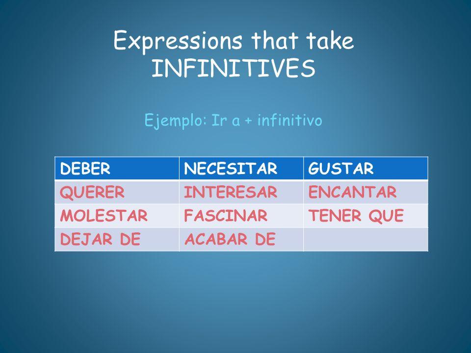 Expressions that take INFINITIVES Ejemplo: Ir a + infinitivo DEBERNECESITARGUSTAR QUERERINTERESARENCANTAR MOLESTARFASCINARTENER QUE DEJAR DEACABAR DE