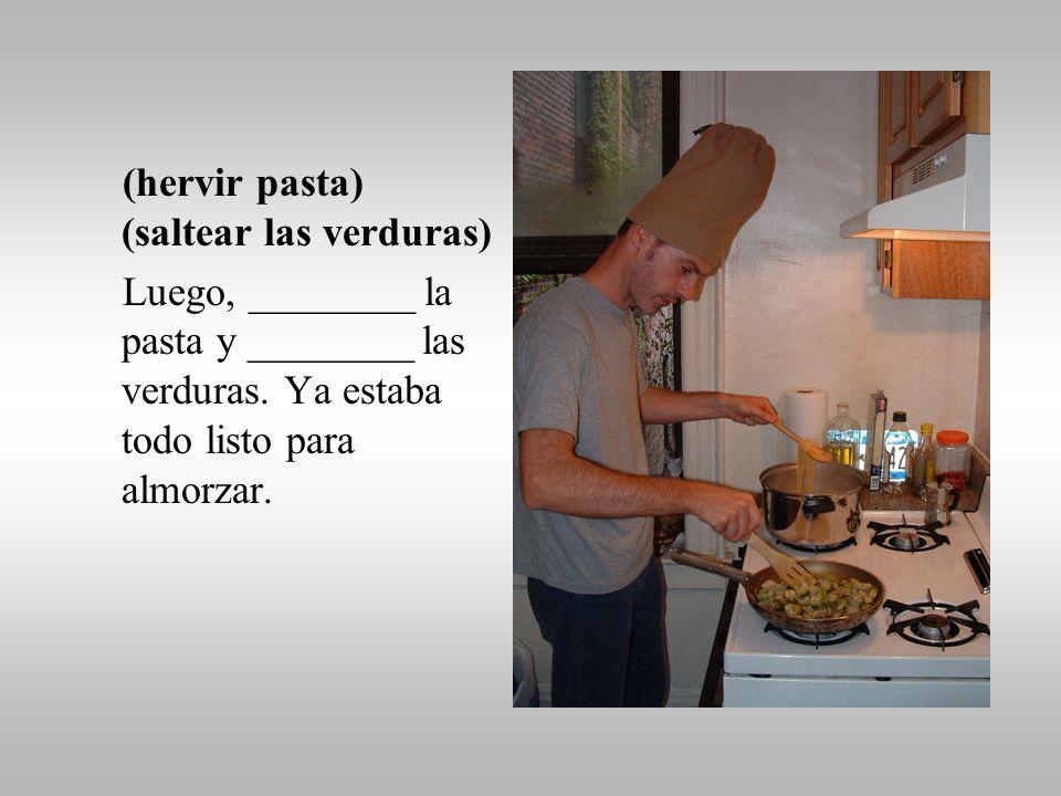 (cortar, trocear) Ya en la cocina, Quijo empezó a cocinar. Primero ______ las verduras…