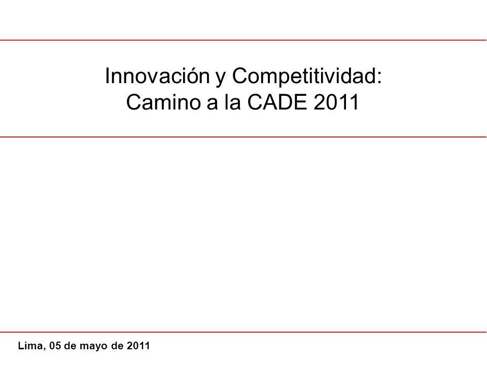 Innovación y Competitividad: Camino a la CADE 2011 Lima, 05 de mayo de 2011