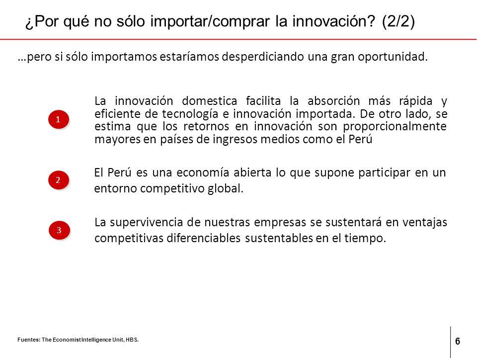 6 ¿Por qué no sólo importar/comprar la innovación? (2/2) La innovación domestica facilita la absorción más rápida y eficiente de tecnología e innovaci