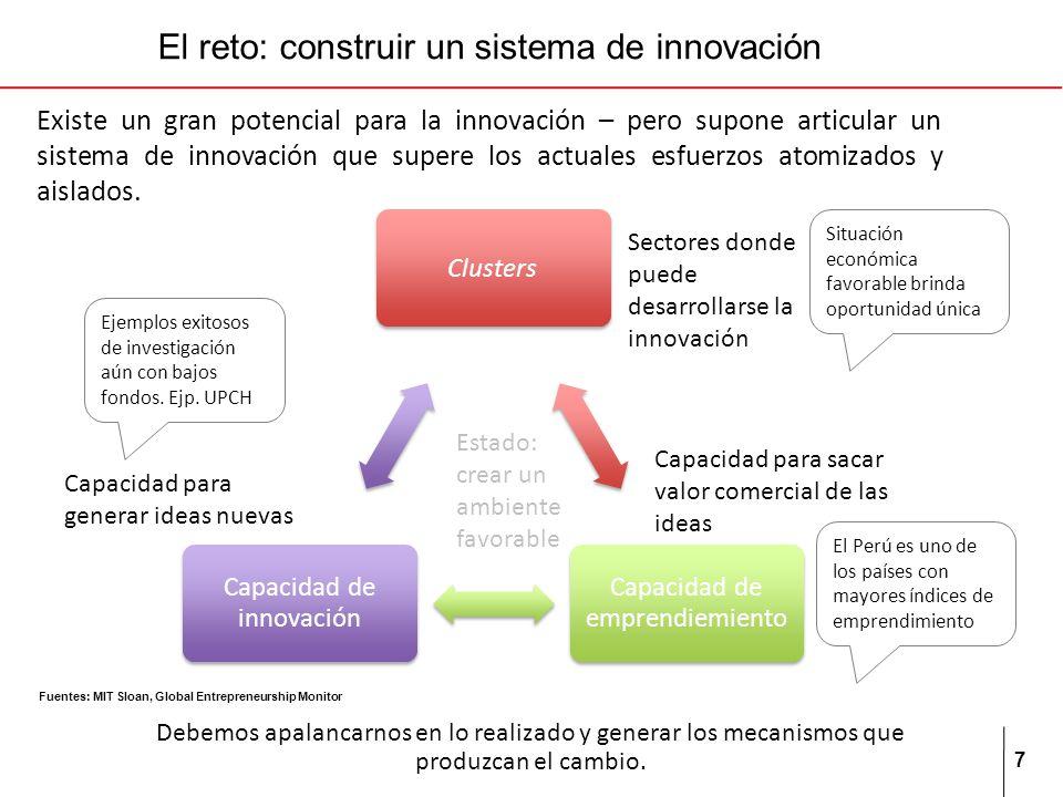 7 El reto: construir un sistema de innovación Existe un gran potencial para la innovación – pero supone articular un sistema de innovación que supere los actuales esfuerzos atomizados y aislados.