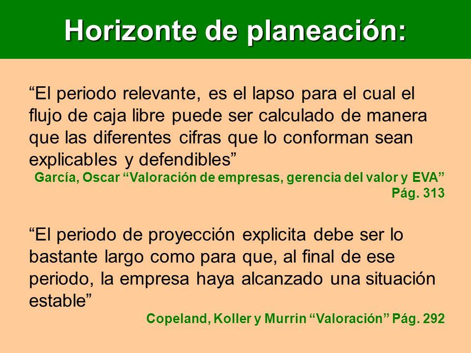 Horizonte de planeación: El periodo relevante, es el lapso para el cual el flujo de caja libre puede ser calculado de manera que las diferentes cifras