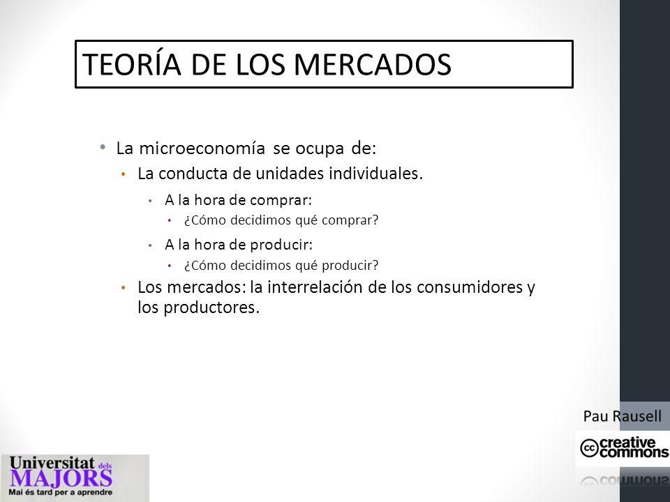 TEORÍA DE LOS MERCADOS La microeconomía se ocupa de: La conducta de unidades individuales.