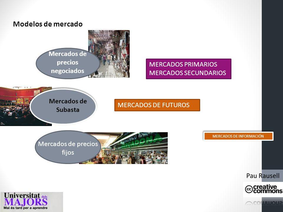 Mercados de precios fijos Mercados de Subasta Mercados de precios negociados Modelos de mercado MERCADOS PRIMARIOS MERCADOS SECUNDARIOS MERCADOS DE FUTUROS MERCADOS DE INFORMACIÓN