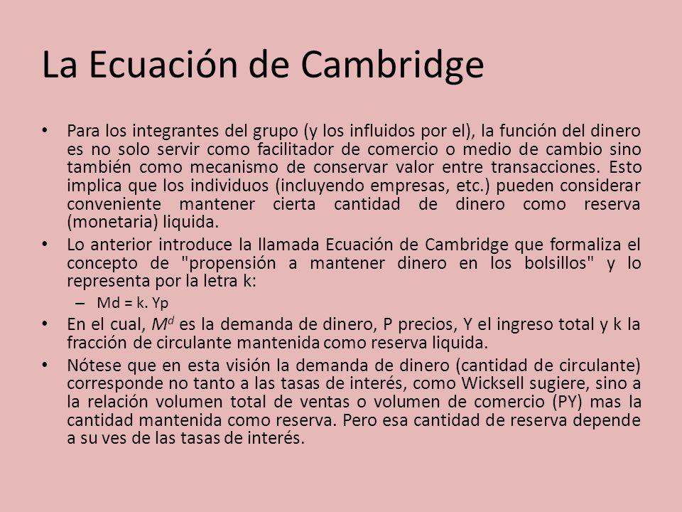 La Ecuación de Cambridge Para los integrantes del grupo (y los influidos por el), la función del dinero es no solo servir como facilitador de comercio