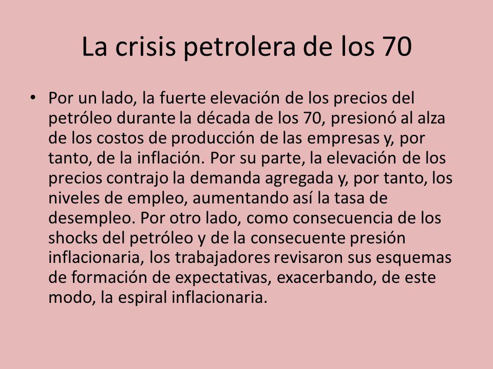 La crisis petrolera de los 70 Por un lado, la fuerte elevación de los precios del petróleo durante la década de los 70, presionó al alza de los costos