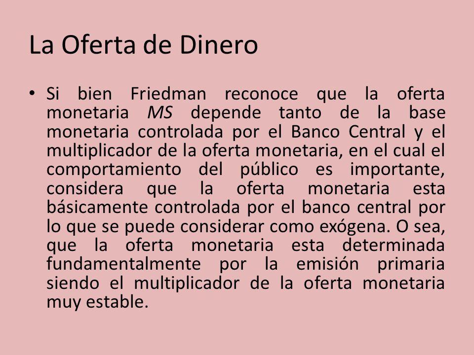 La Oferta de Dinero Si bien Friedman reconoce que la oferta monetaria MS depende tanto de la base monetaria controlada por el Banco Central y el multi