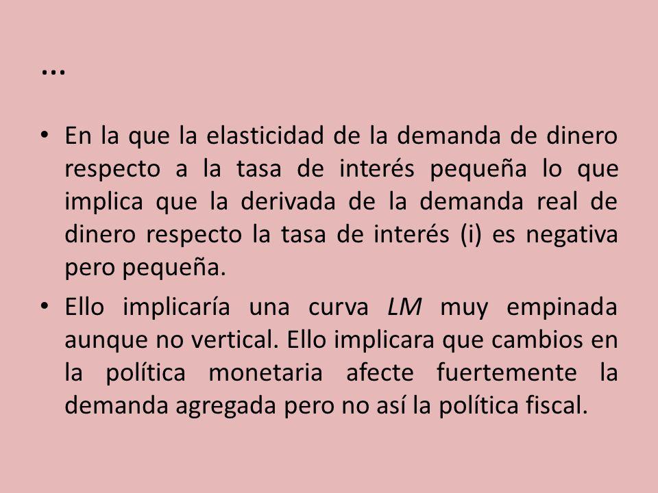 … En la que la elasticidad de la demanda de dinero respecto a la tasa de interés pequeña lo que implica que la derivada de la demanda real de dinero r