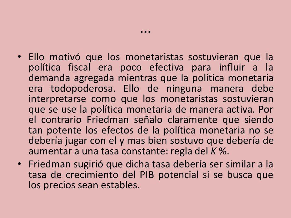 … Ello motivó que los monetaristas sostuvieran que la política fiscal era poco efectiva para influir a la demanda agregada mientras que la política mo