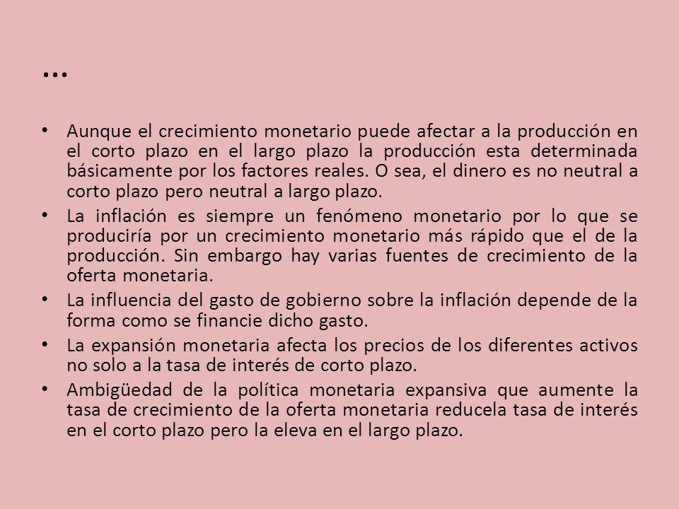 … Aunque el crecimiento monetario puede afectar a la producción en el corto plazo en el largo plazo la producción esta determinada básicamente por los